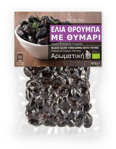Velouitinos Olive Throumpa Thassou with Thyme Product of Organic Farming 180g