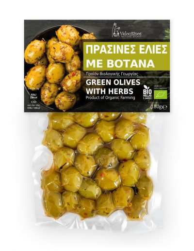 Velouitinos Green Olives with herbs Organic 180g